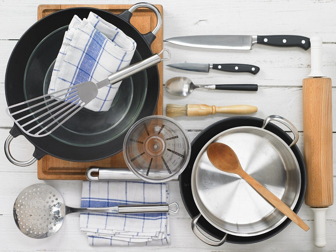 Kitchen utensils for making mu shu tofu in pancakes with cabbage and mushrooms