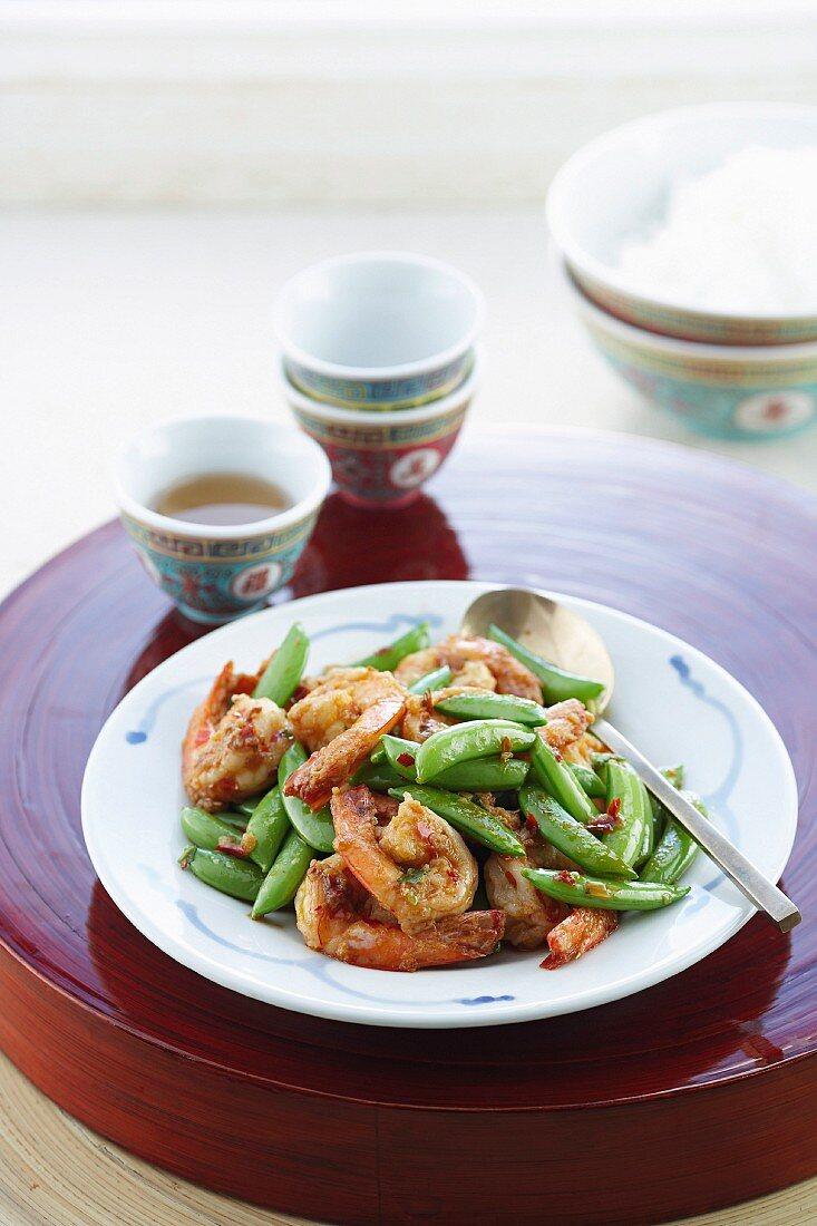Stir-fried Szechaun Prawns with Sugar Snap Peas