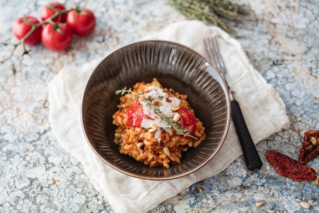 A bowl of risotto with sun-dried tomatoes