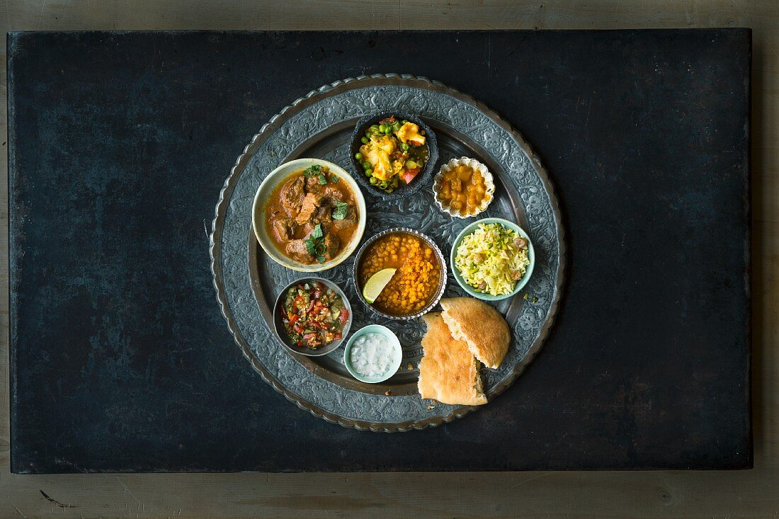 Thali (a platter of Indian dishes and dips in small bowls)