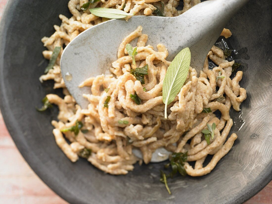 Wholewheat noodles in sage butter