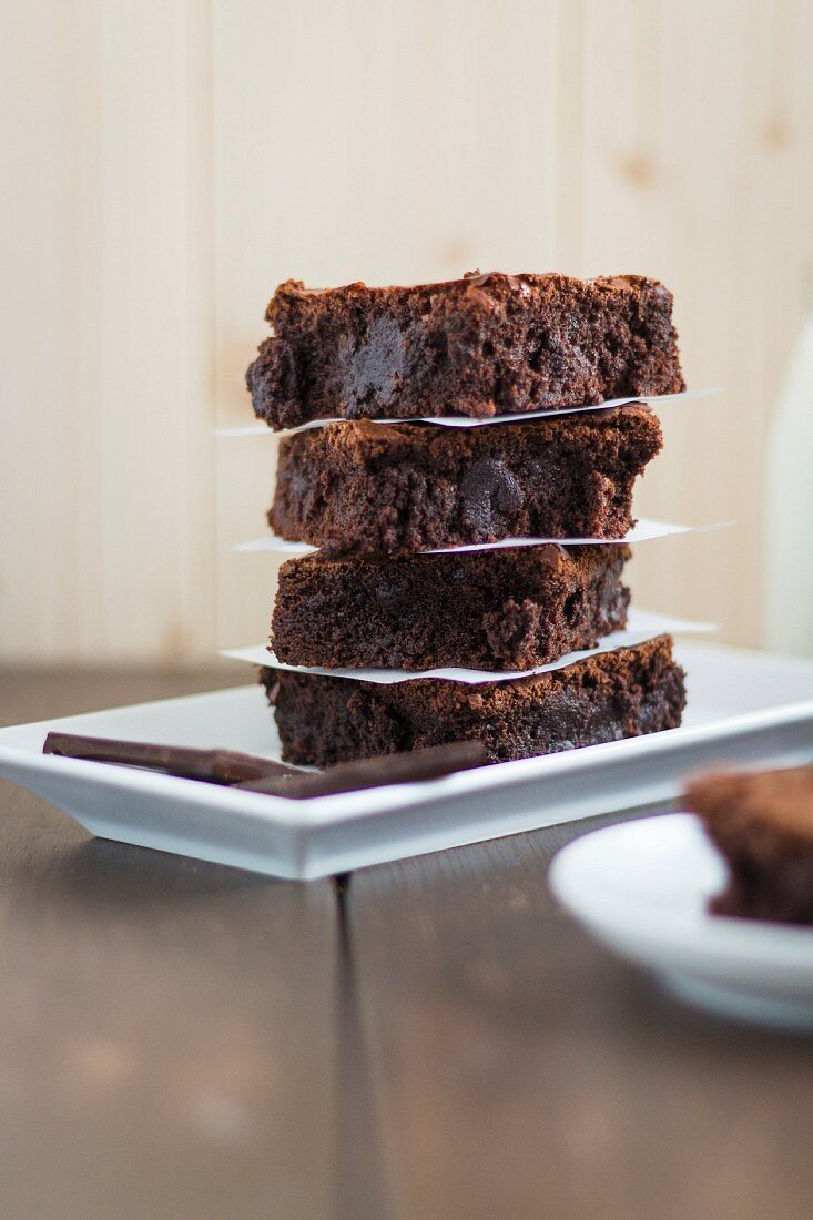 A stack of one-bowl brownies