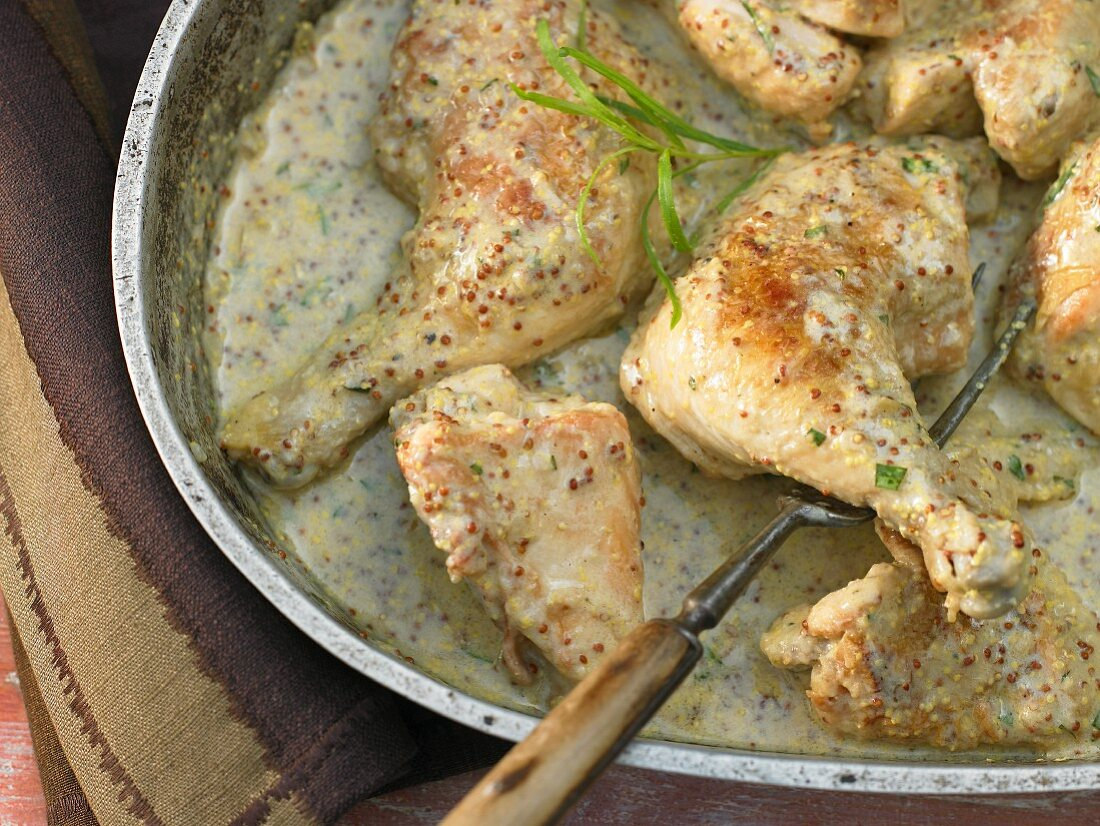 French-style stewed chicken with mustard and tarragon