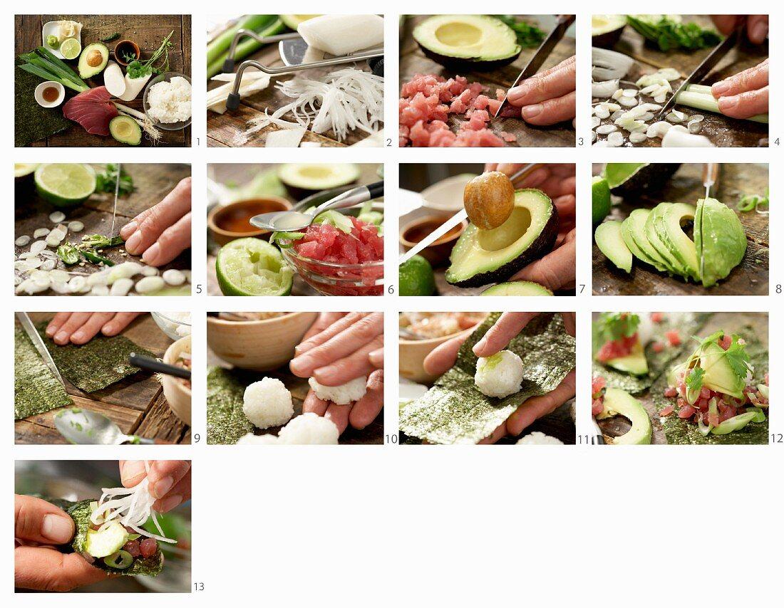 How to make temaki sushi with tuna tartar and avocado