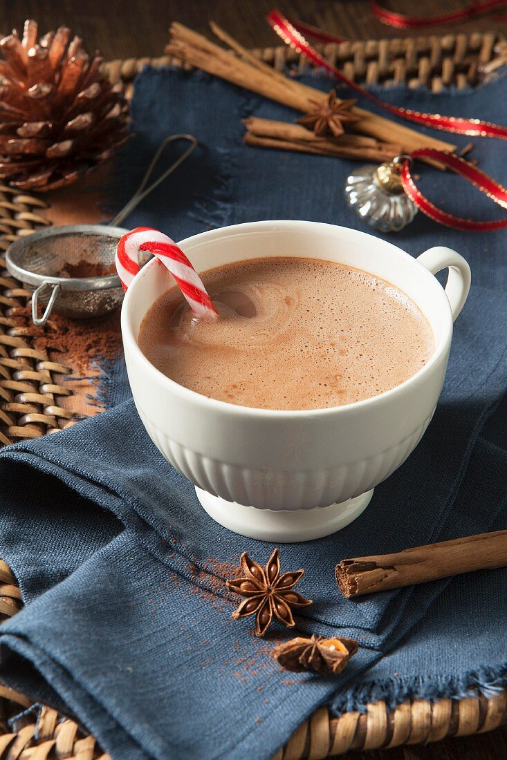 A white cup of hot chocolate with a candy cane in it, surrounded by Christmas spices