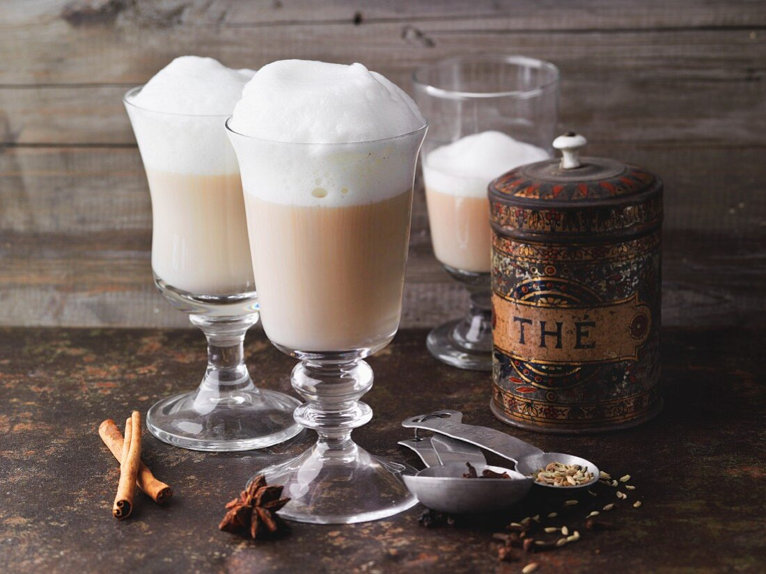 Masala chai latte with spices