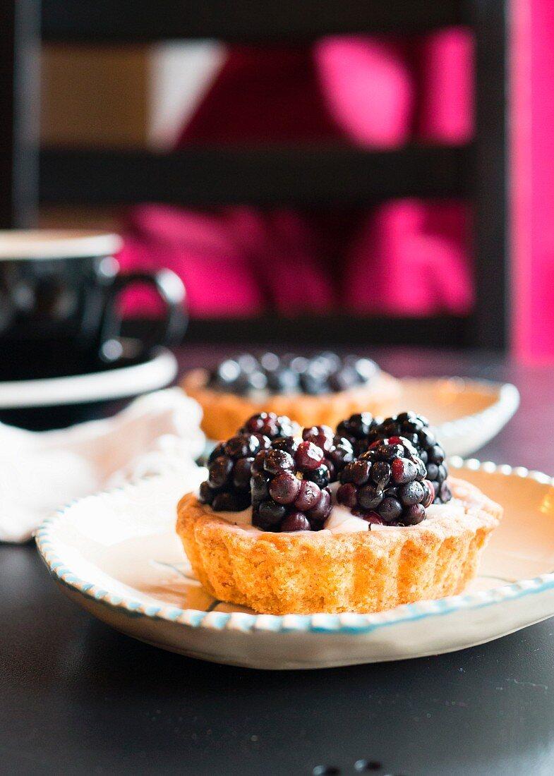 Berry tart dessert at a cafe