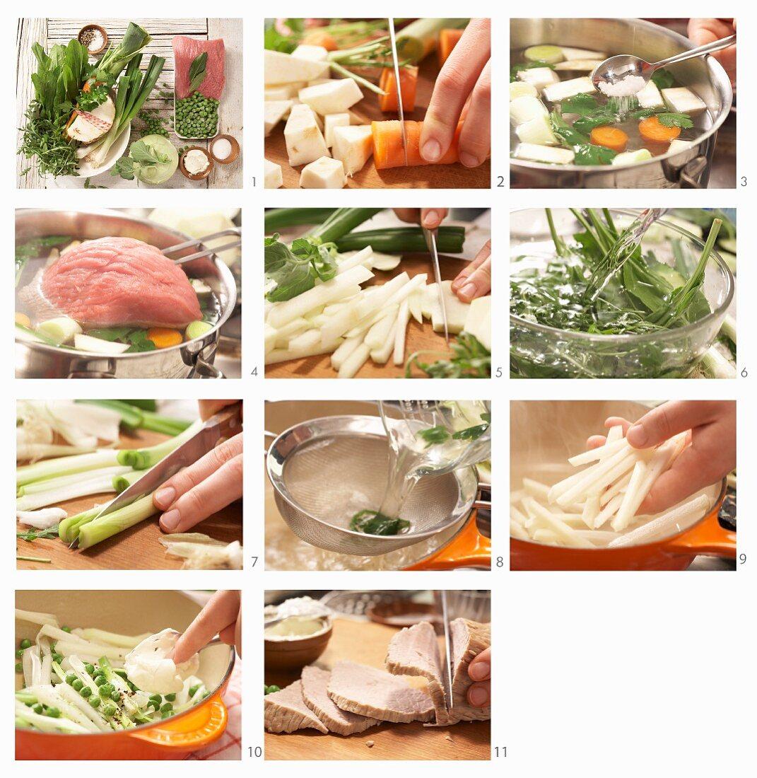 How to make boiled veal with kohlrabi, borage and sorrel