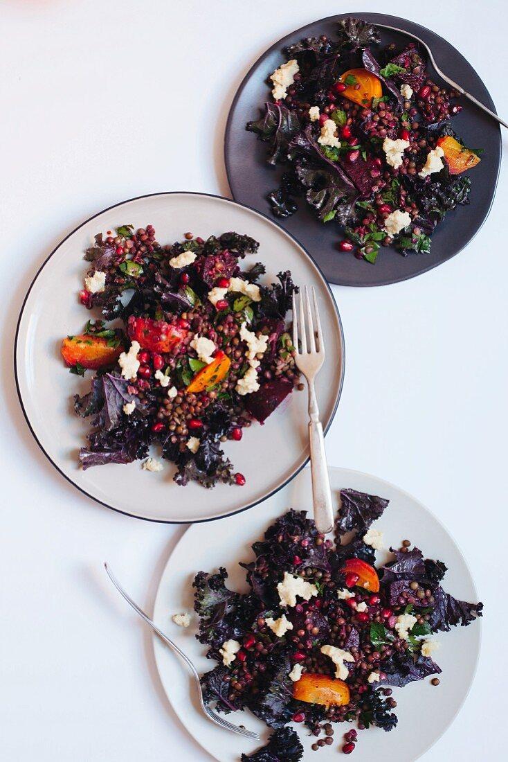 Lentil and red beet salad