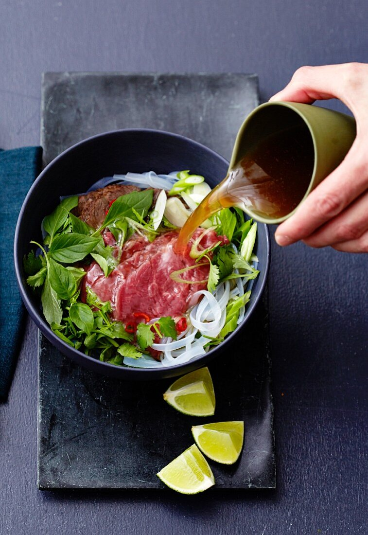 Pho (a Vietnamese soup) with beef and rice noodles