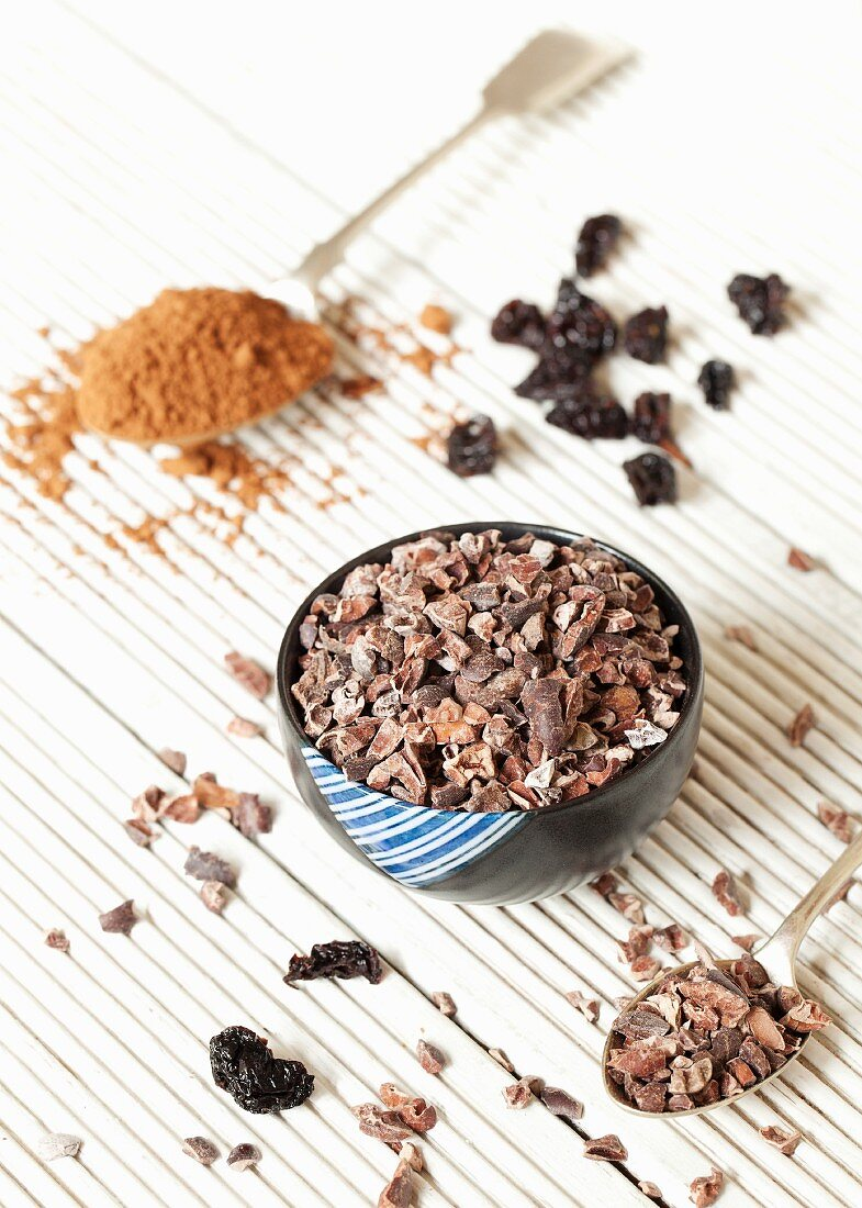 Still life with coconut pieces, dried cherries and cocoa powder