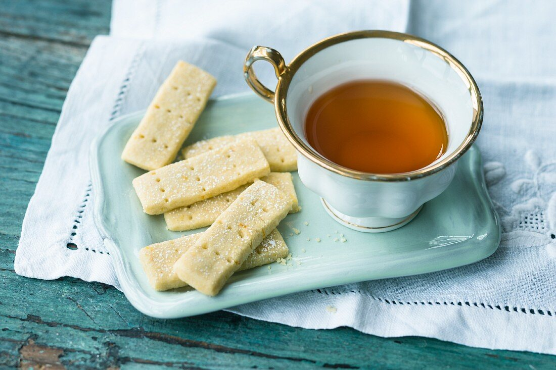 Quick and easy shortbread served with a cup of tea