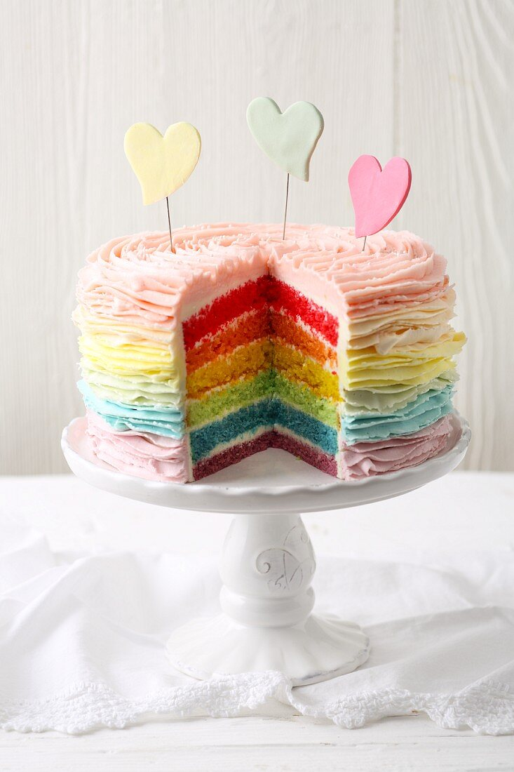 Brightly coloured 'Somewhere Over the Rainbow' layered cake