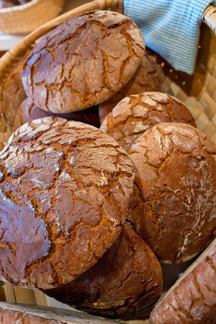 Bread from the farm shop of the 'Wild-Berghof Buchet' inn in the Bavarian Forest, Germany