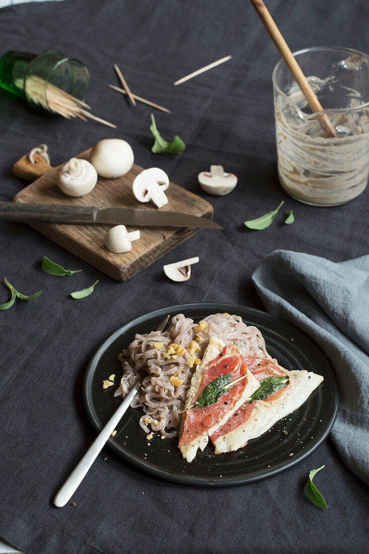 Plaice saltimbocca with Shirataki fettuccine (low carb)