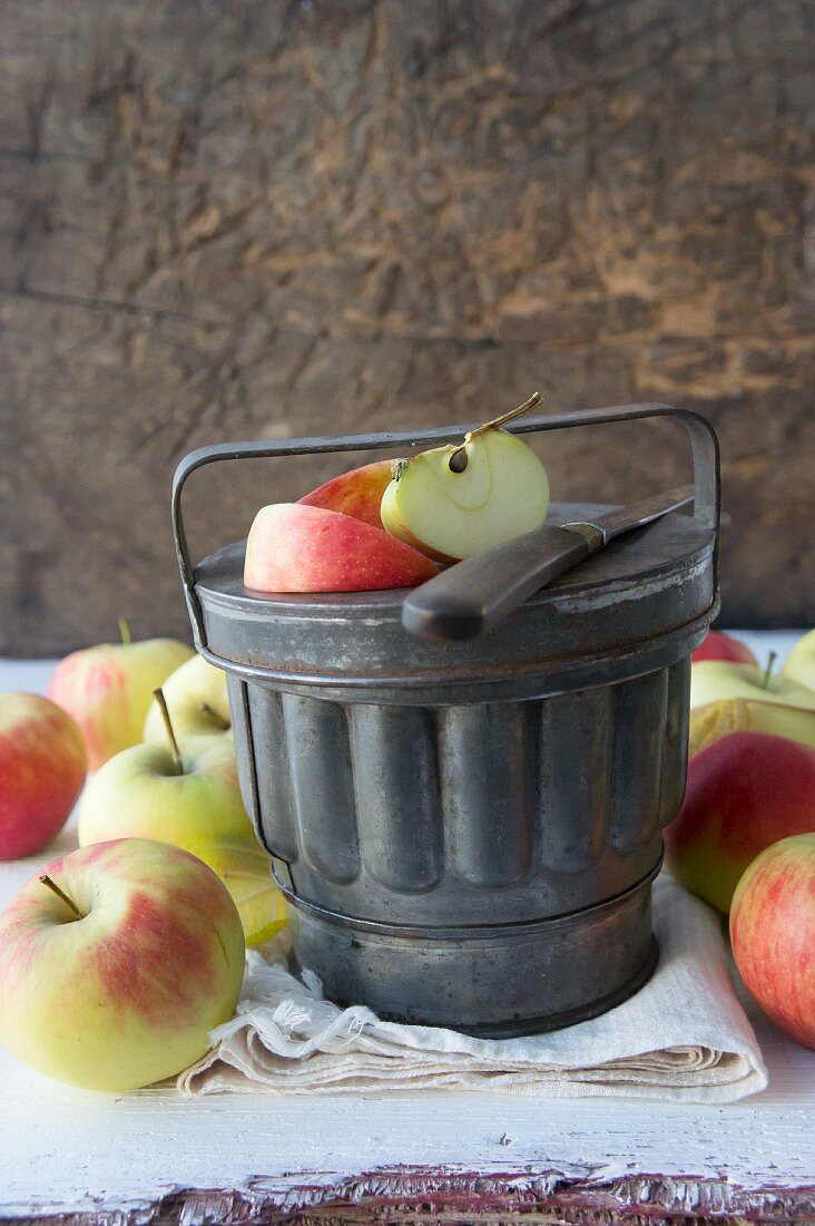 Bowls of apple sauce in an old casserole tin