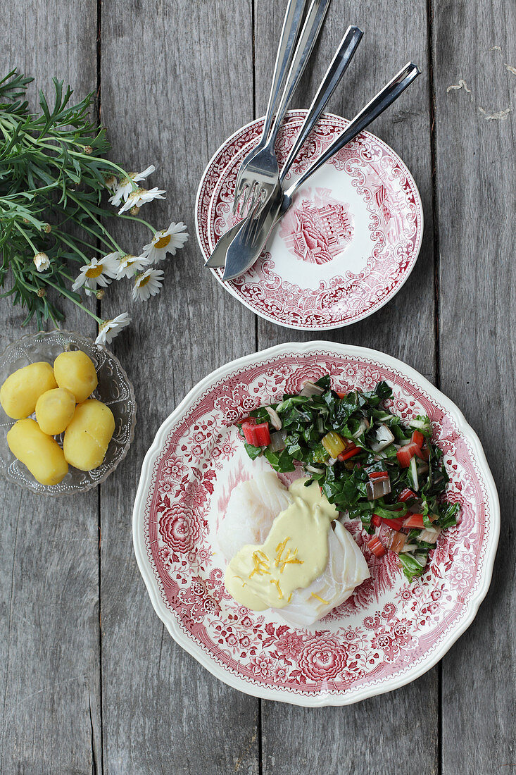 Cod fillet with a chard medley and mustard cream