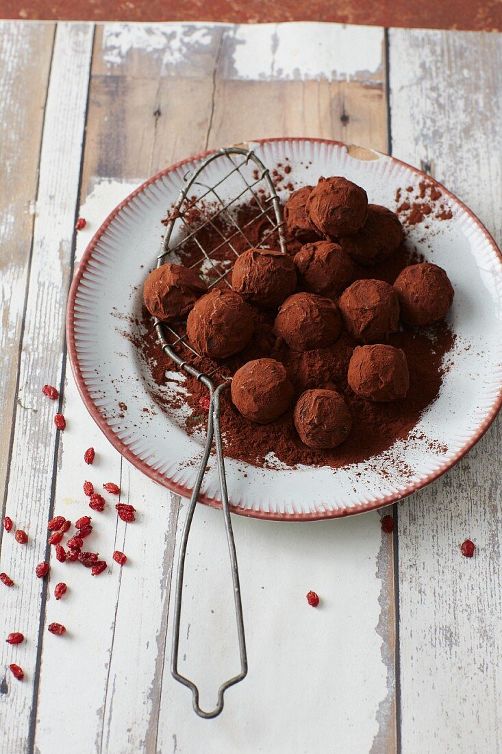 Marzipan pralines with sour cherries and barberries