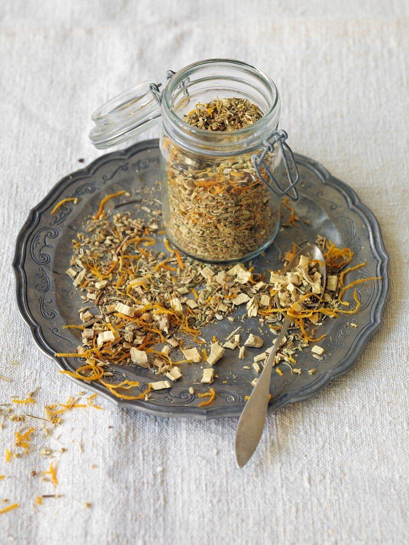 Homemade tea blend with fennel seeds, orange peel and liquorice (vegan)