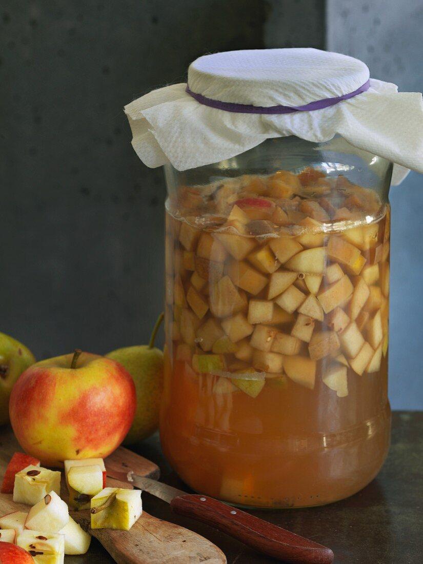 Homemade vegan apple and pear vinegar