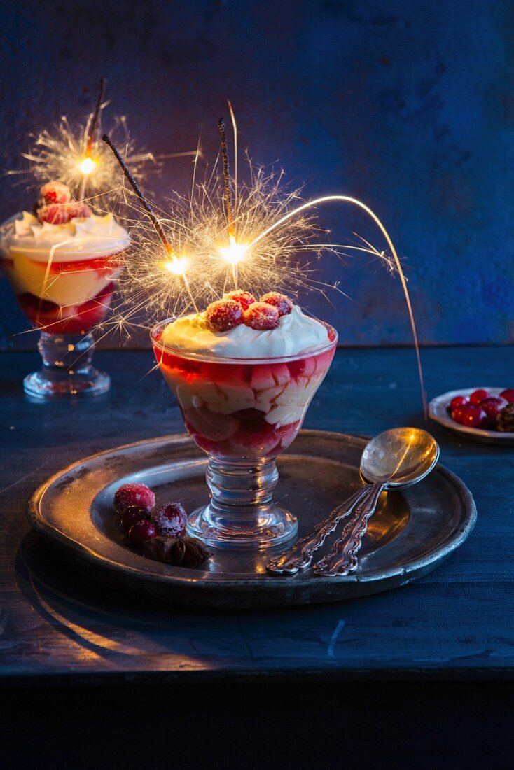 Christmas cranberry trifle with sparkelers