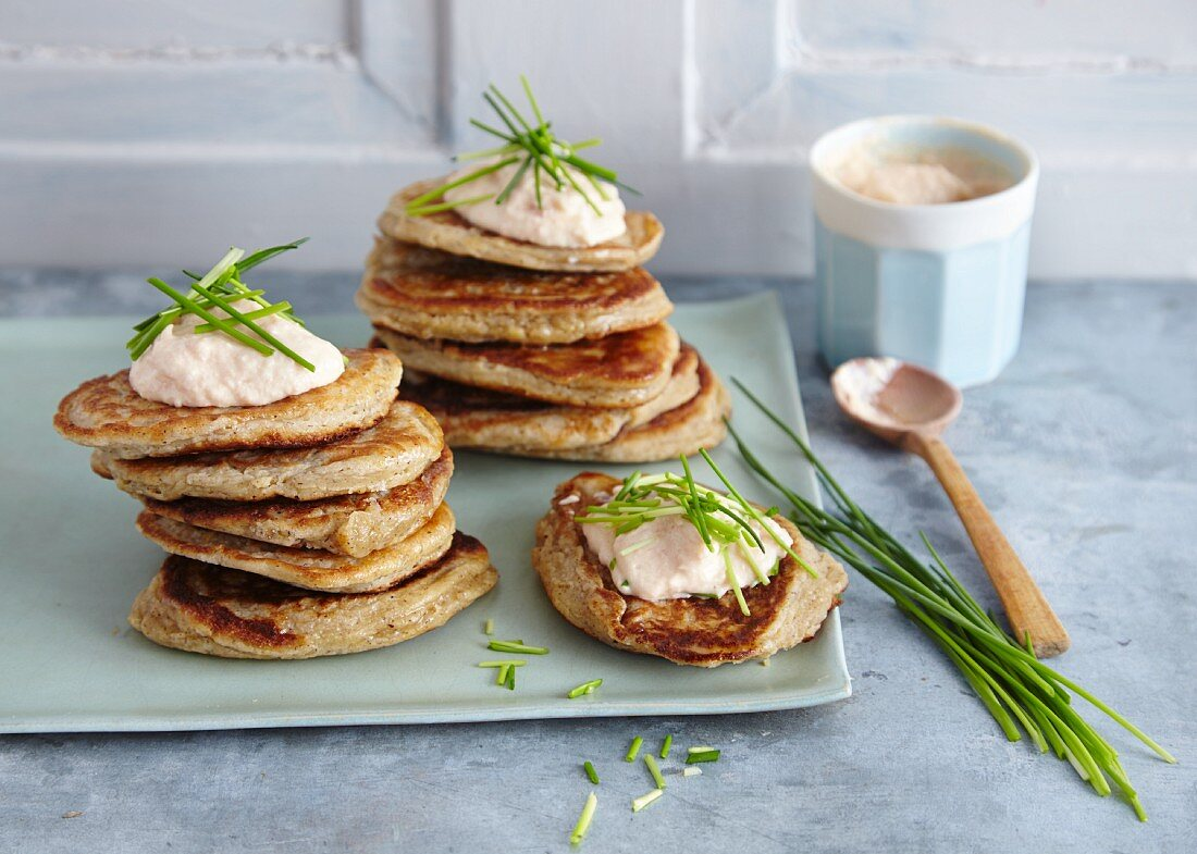 Potato blinis with smoked salmon cream and chives