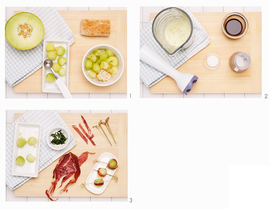 How to prepare cold melon soup with port wine and ham
