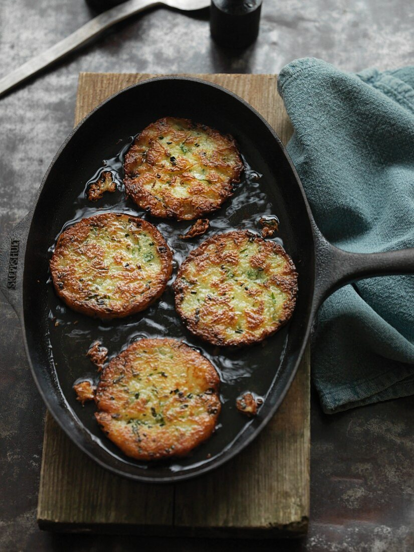 Vegan potato and herb hashbrowns ready for freezing