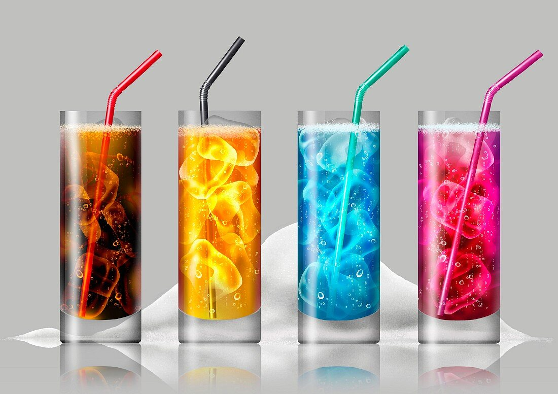 Row of brightly colored fizzy drinks in front of pile of sugar