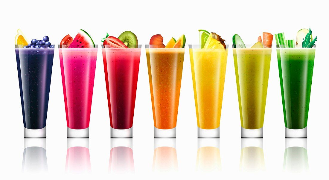 Lots of different bright colored fruit and vegetable smoothies in a row