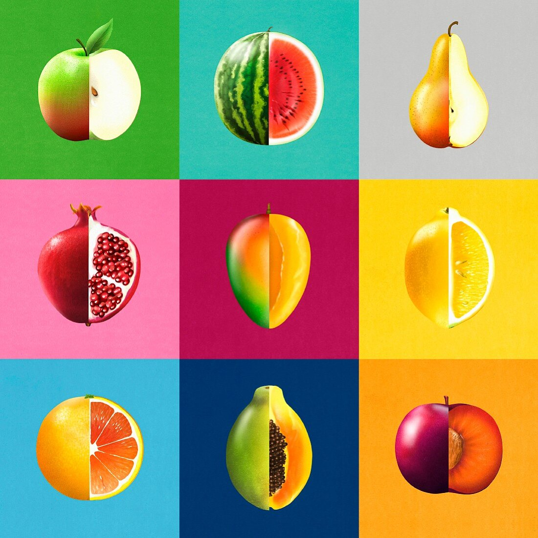 Montage of rows of bisected fruit showing cross sections