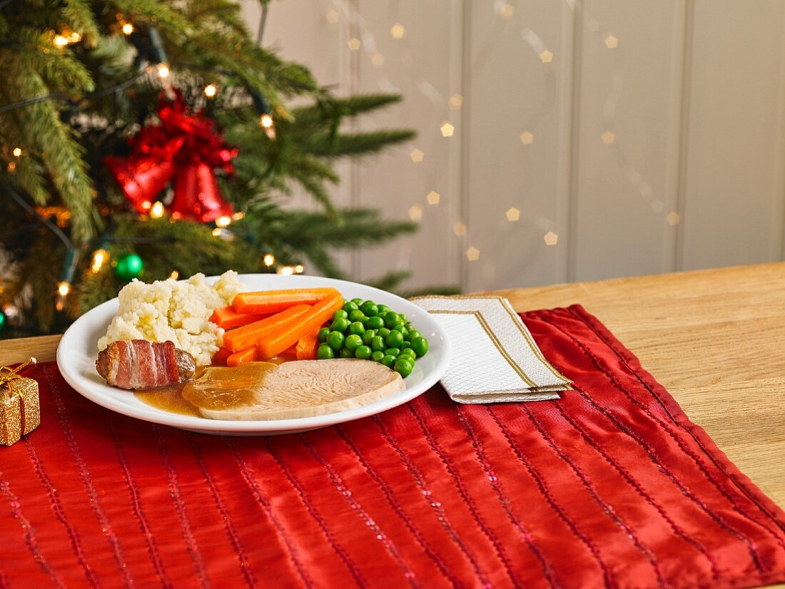 A child's portion of a Christmas turkey dinner