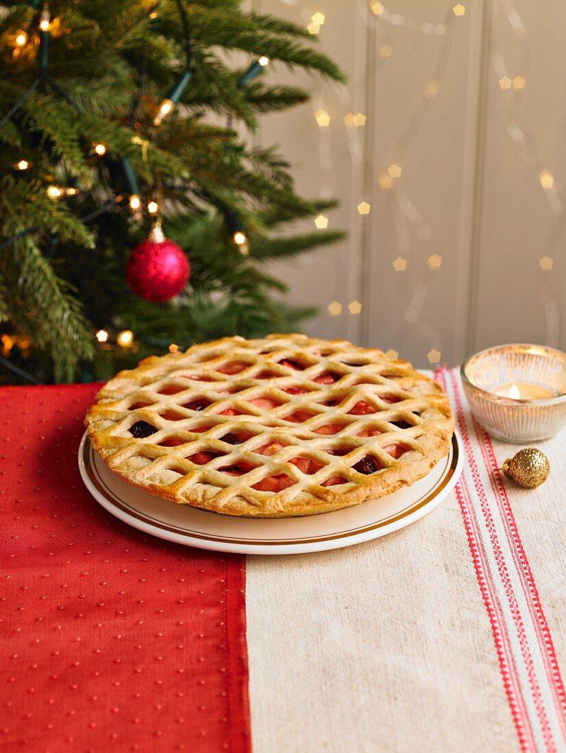 Orange And Cranberry Lattice Pie