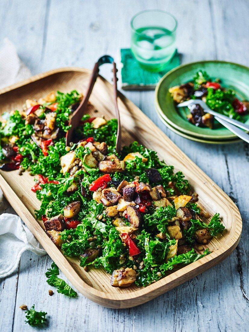 Eggplant, Kale and Lentil Salad