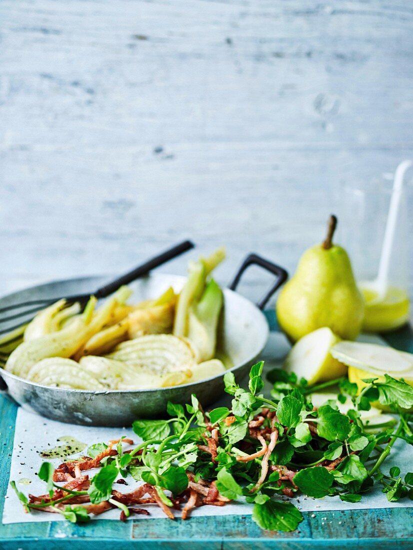 Braised Fennel with Bacon, Pear and Watercress