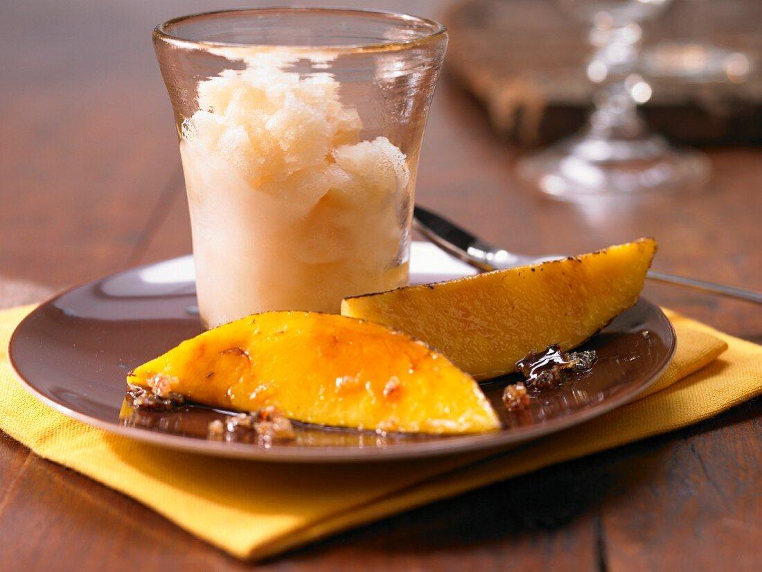 Coconut granita with mango