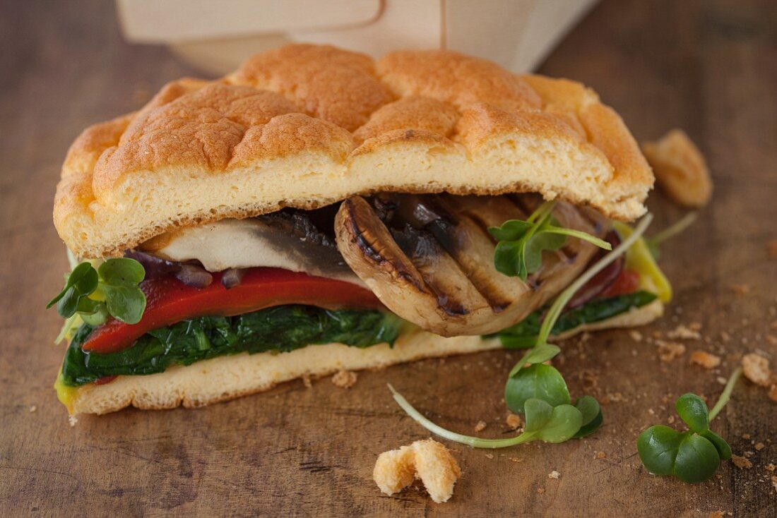 A cloud bread sandwich (carb-free bread) with mushrooms