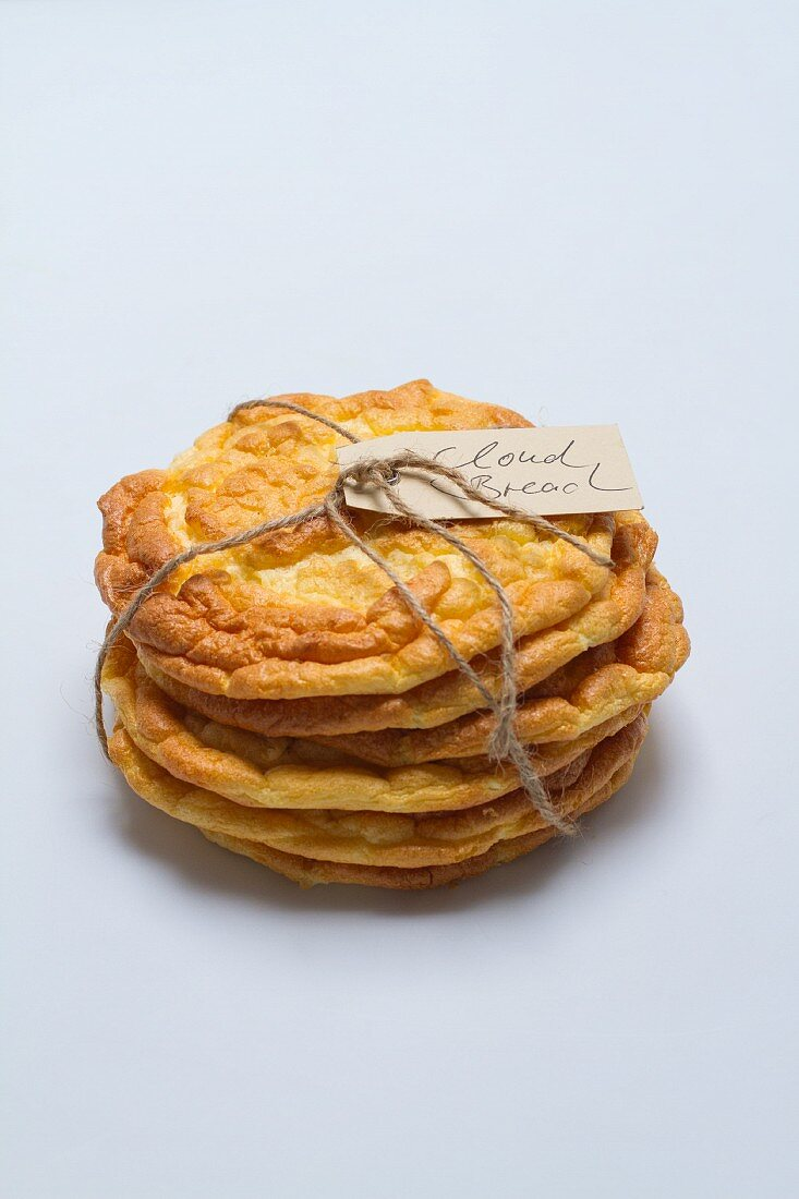 A stack of cloud bread (carb-free bread) tied with string