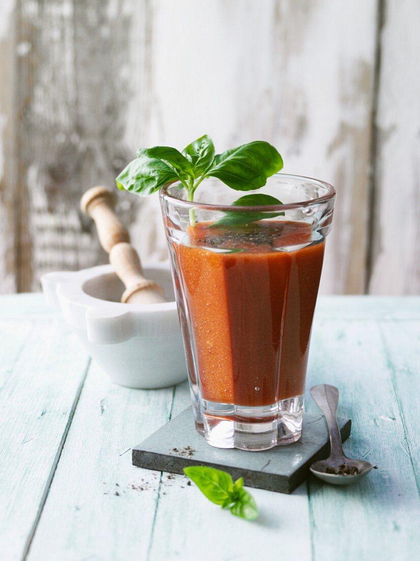 A tomato smoothie with pesto and Tabasco