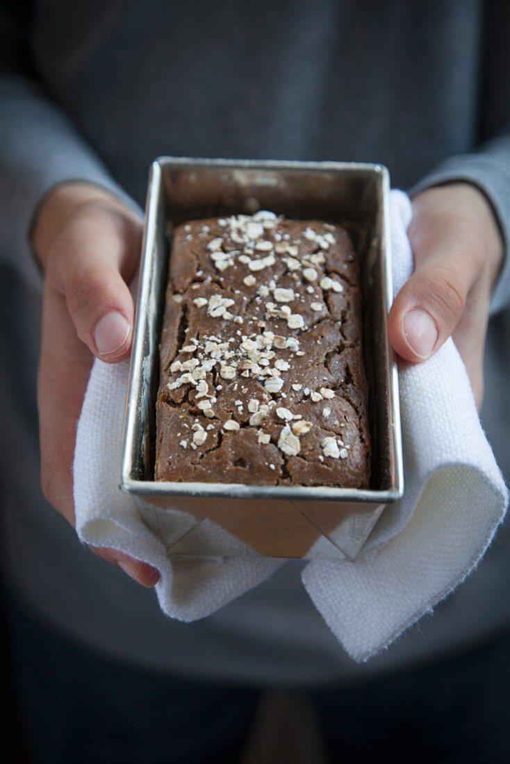 Gluten free bread in a baking tin