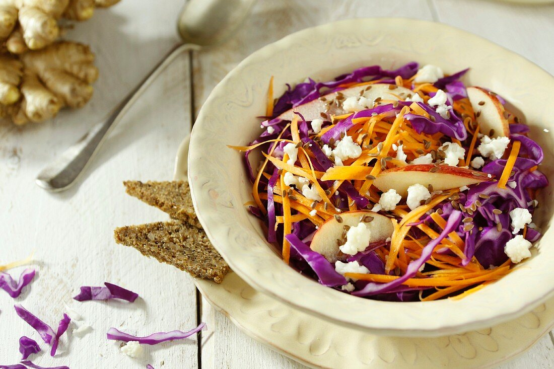 Carrot and red cabbage salad with apple and ginger