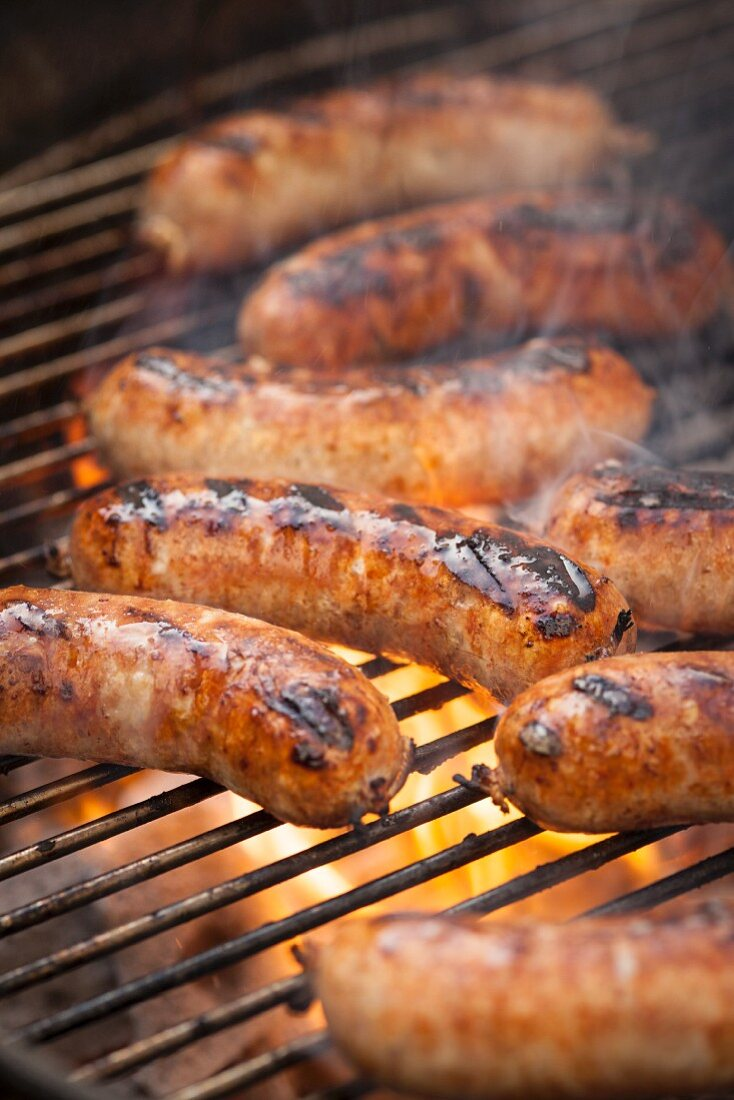 Grilled sausages on a grill