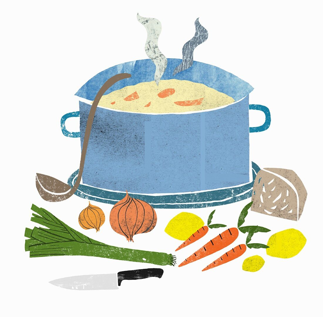 A steaming pot of vegetable soup with ingredients