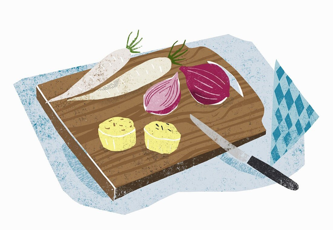 Cheese, radish and onion for supper (illustration)
