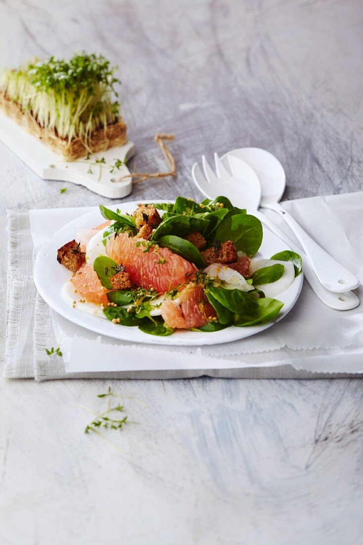 Radish and grapefruit salad with lambs lettuce and wholemeal croutons
