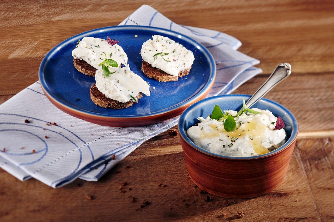 A goat's cream cheese dip with rosemary and honey