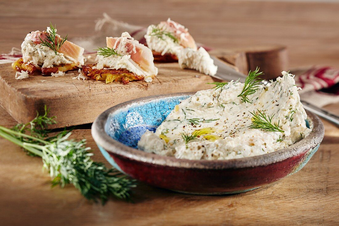 Creamy trout dip with dill