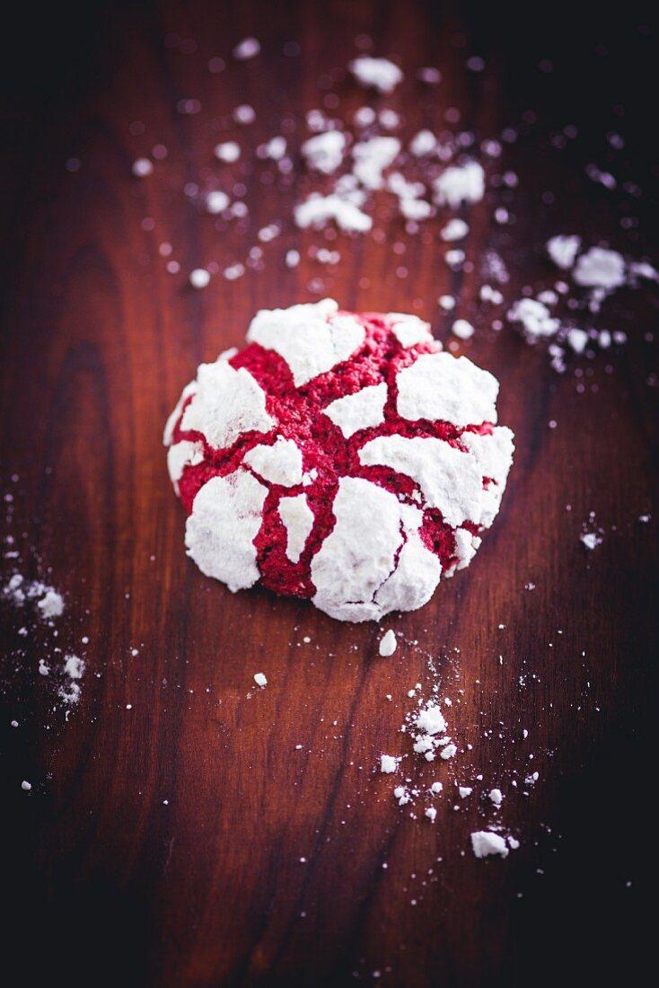 A red velvet crinkle cookie