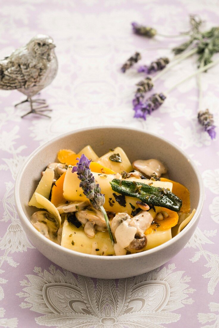 Mushroom and butternut squash lasagne with lavender butter