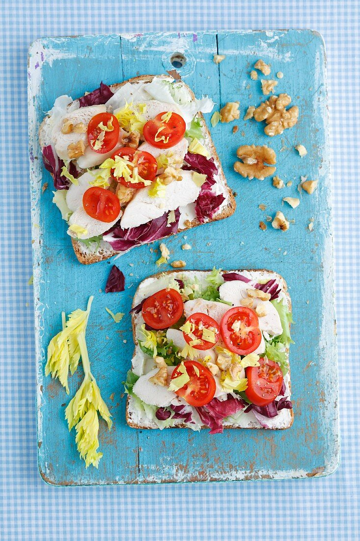 Open sandwiches with chicken breast, celery, tomatoes and walnuts